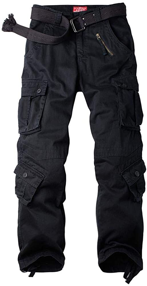 Women's Tactical Pants, Cotton Casual Cargo Work Pants Military Army Combat Trousers 8 Pockets (Black, 2 New)