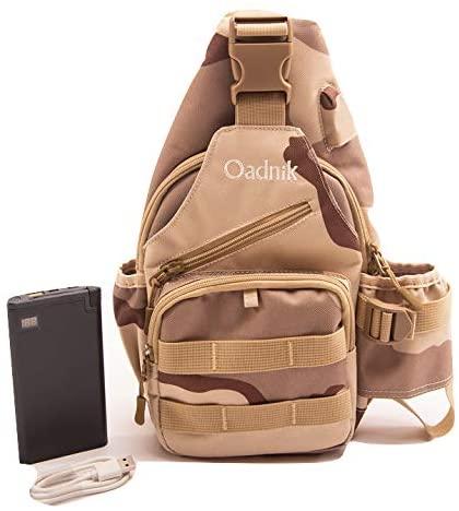 Sling Bag with Power Bank/Cross Body Backpack/Day Pack/USB Port/Men Women
