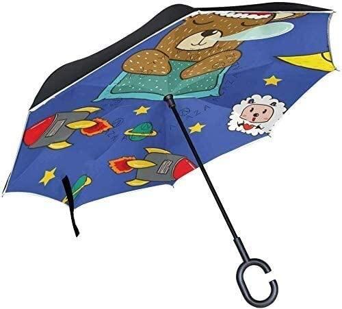 ASDF Inverted Umbrella Cartoon Bear with Rockets Space Desgin Double Layer Reverse Umbrella with C-Shaped Handle