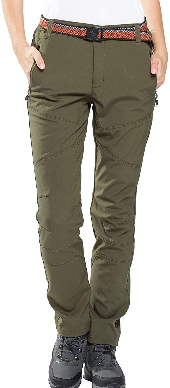 JOMLUN Womens Softshell Pants Fleece Lined Waterproof Windproof Outdoor Ski Snow Pant Winter Insulated Trousers