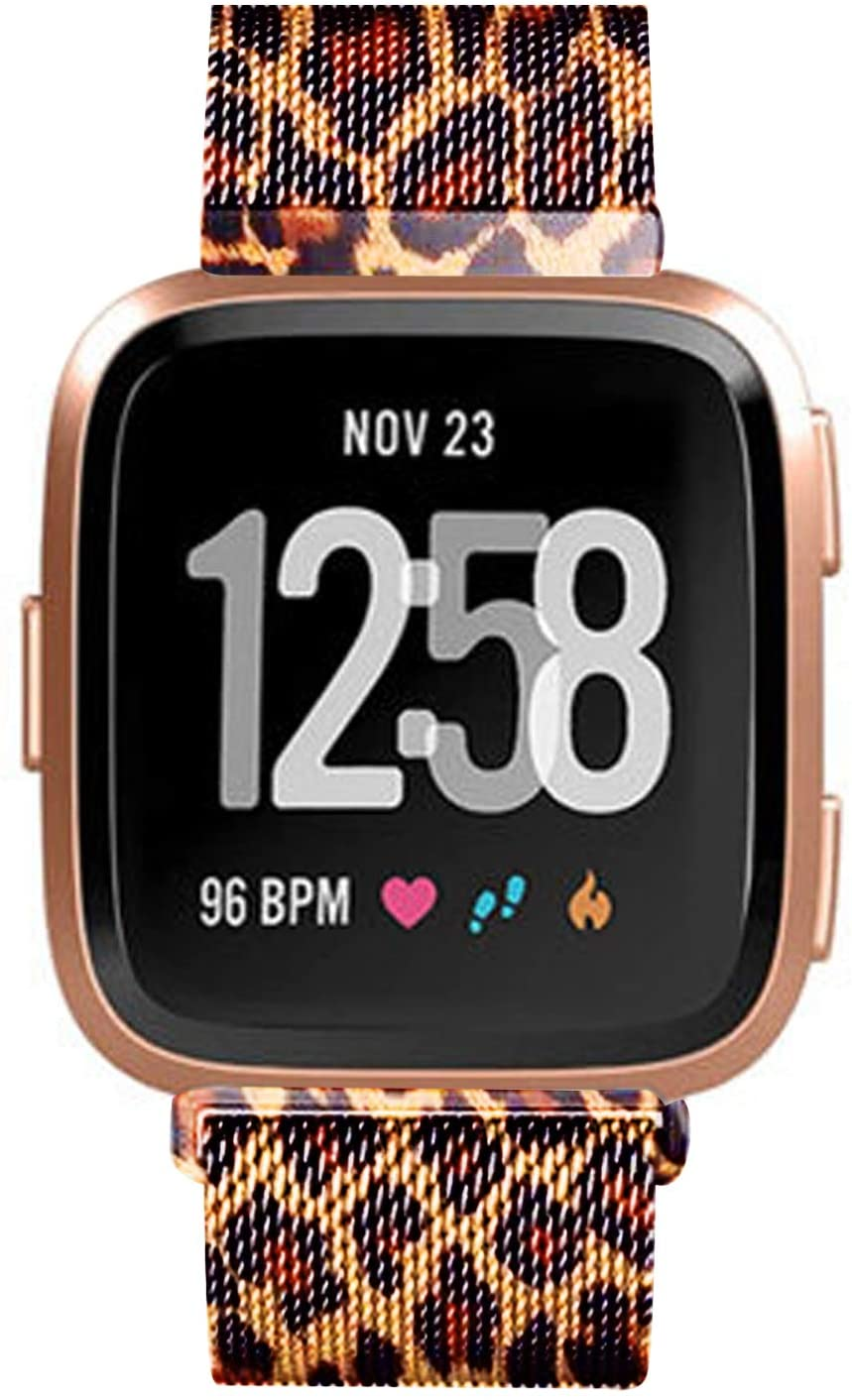 Morsey Metal Bands Compatible for Fitbit Versa/Versa Lite Edition/Versa 2,Stainless Steel Metal Mesh Bracelet Unique Magnet Lock Wristbands Small and Large