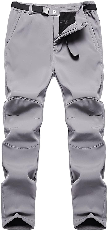 BenBoy Women's Outdoor Waterproof Windproof Fleece Slim Cargo Snow Ski Hiking Pants (Dark Grey, XS)