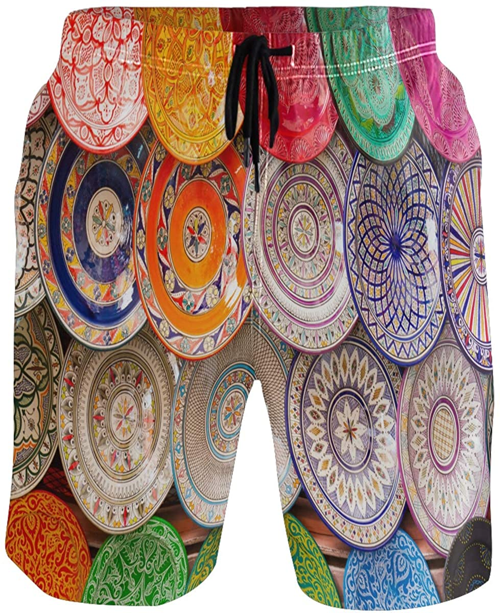 Kaariok Colorful Arabic Plates Flower Men's Swim Trunks Quick Dry Shorts with Pockets