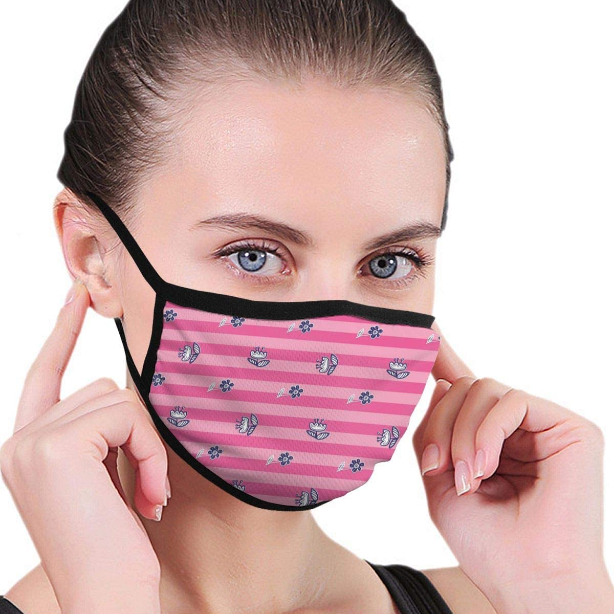 Anti Dust Breathable Face Mouth Mask Folklore Flowers Washable Face Mask for Cycling Camping Travel