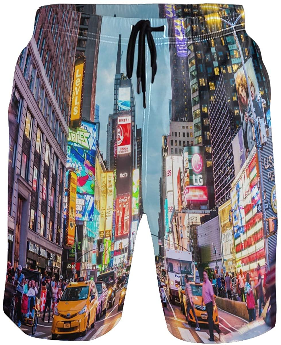 Kaariok Times Square Manhattan New York City View Men's Swim Trunks Quick Dry Shorts with Pockets
