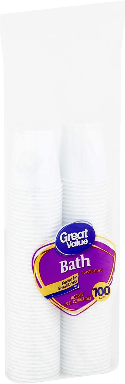 Bath Great Value 3 Oz White Plastic Cups, 100 Ct