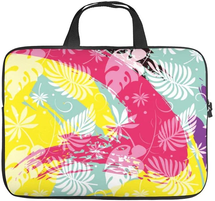 Diving Fabric,Neoprene,Sleeve Laptop Handle Bag Handbag Notebook Case Cover Tropical Leaves,Classic Portable MacBook Laptop/Ultrabooks Case Bag Cover 15 inches