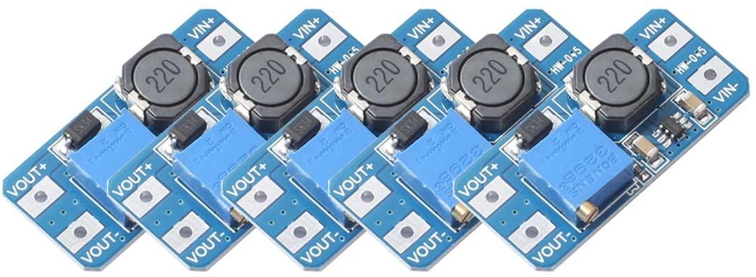 5pcs MT3608 DC-DC Boost Power Converter 2A Adjustable Step Up Voltage Regulator Board Input Voltage 2-24V to 5V-28V Output Voltage Compatible with Arduino