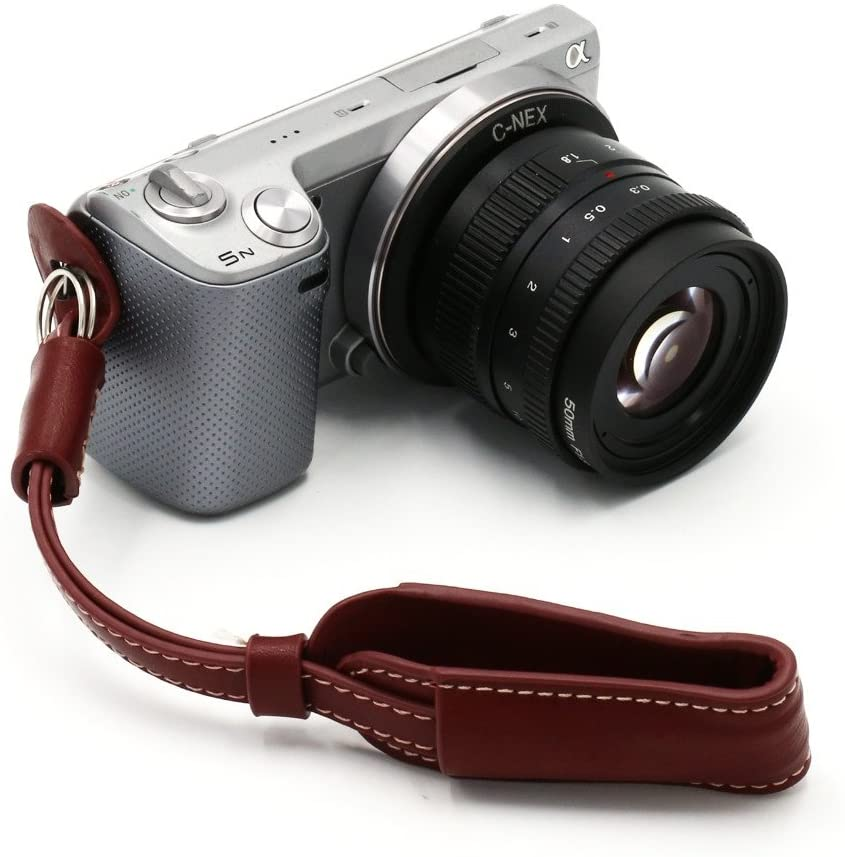 Anyway Camera Wrist Hand Strap Grip double PU Leather Case brown