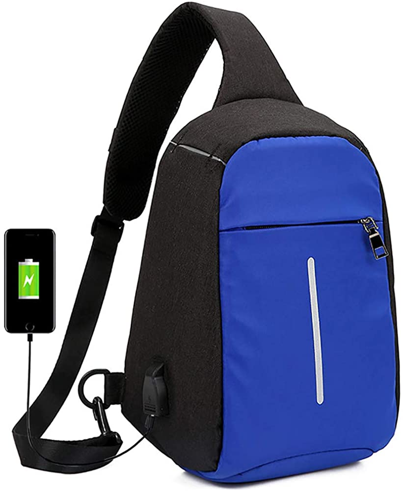 Peicees USB Anti Theft Mens Sling Crossbody Bag Shoulder Chest Backpack Daypack(Royal Blue)