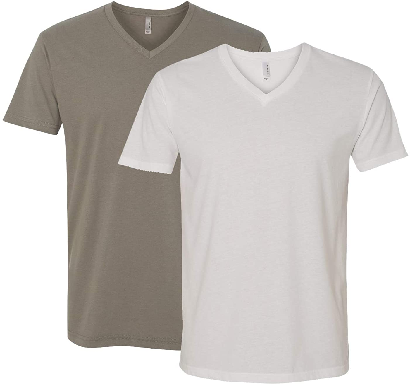 Next Level Apparel 6440 Mens Premium Fitted Sueded V-Neck Tee -2 Pack, Warm Grey + White (2 Shirts) - Large