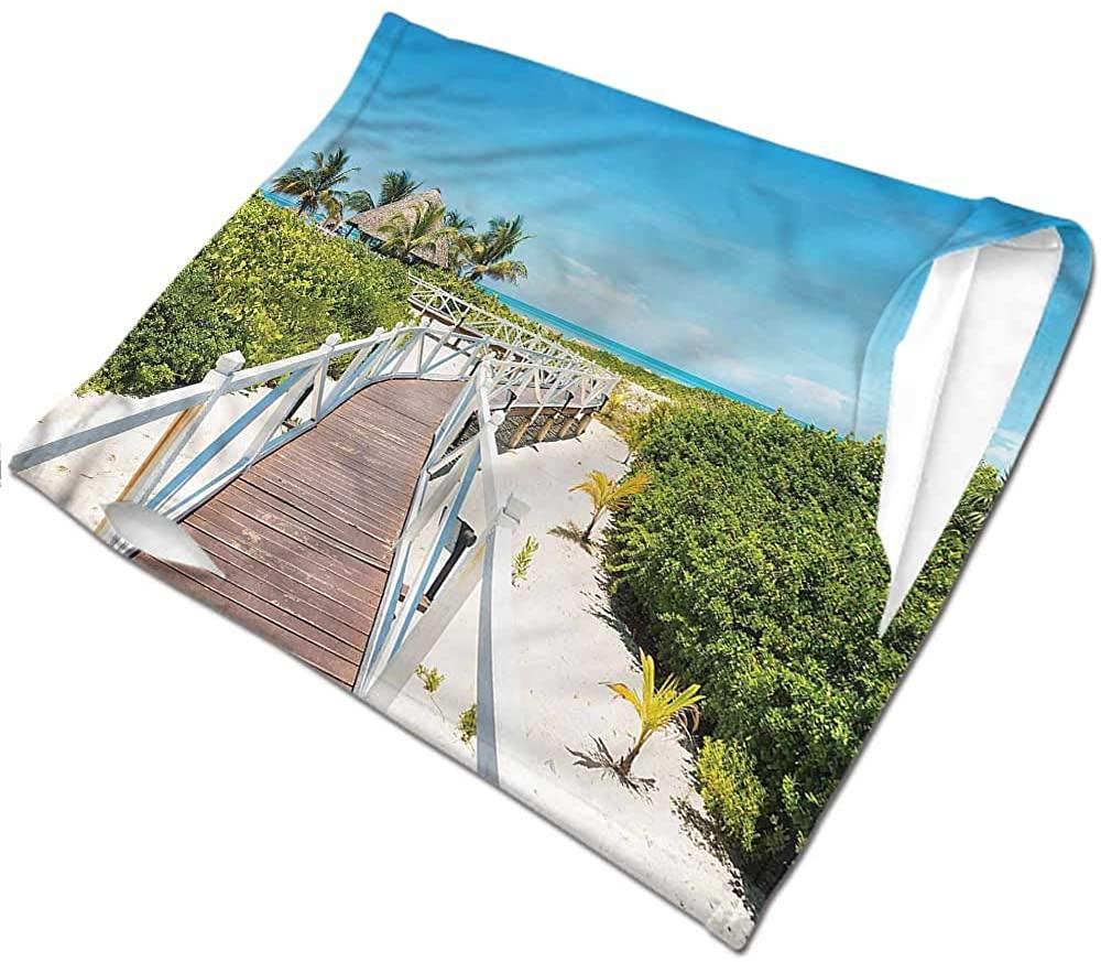 VIVIOTendance Headwear Beach,Wooden Walkway Exotic Unisex Anti-Dust Washable