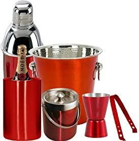 King International Red Coloured Bar Set Set Of 6pcs / Wine Bucket/Ice Bucket/Cocktail Shaker/Peg Measure/Ice Tong/Wine Cooler …
