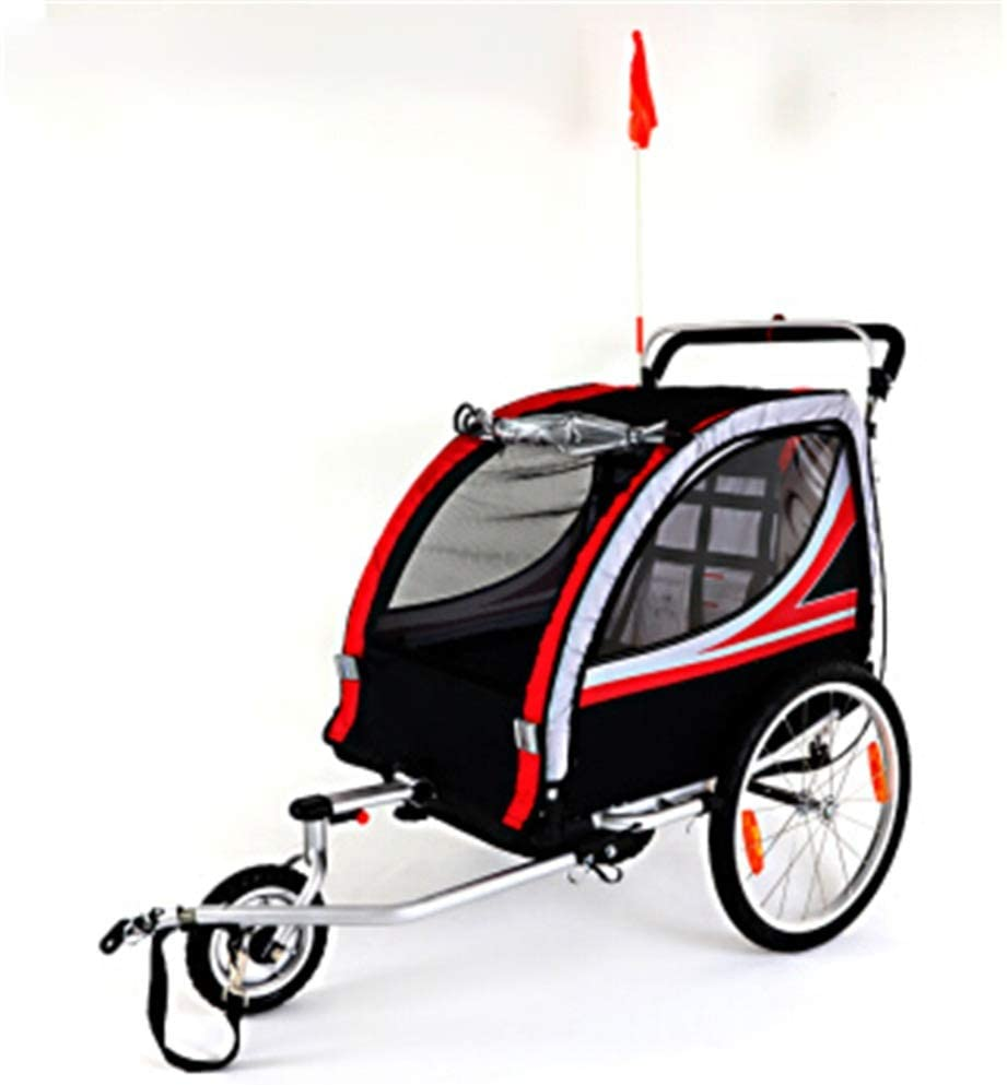 Bishelle-baby Double Seat Foldable Tow Behind Bike Trailers,Converts to Stroller Jogger,Featuring 2-in-1 Canopy and 20-Inch Wheels,for Kids and Children Converts to Stroller/Jogger