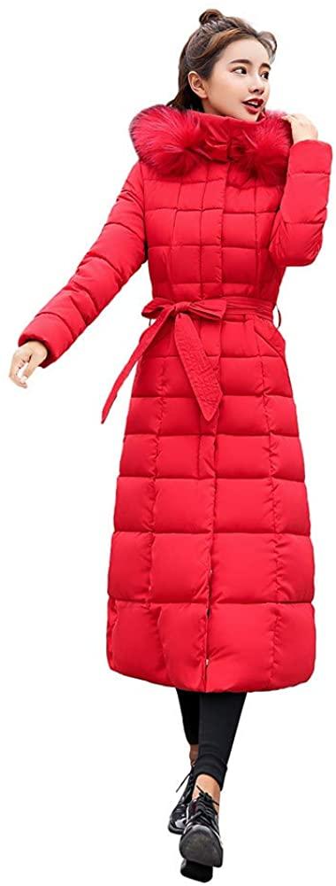 ZEFOTIM Women Outerwear Fur Hooded Coat Long Cotton-Padded Jackets Pocket Coats