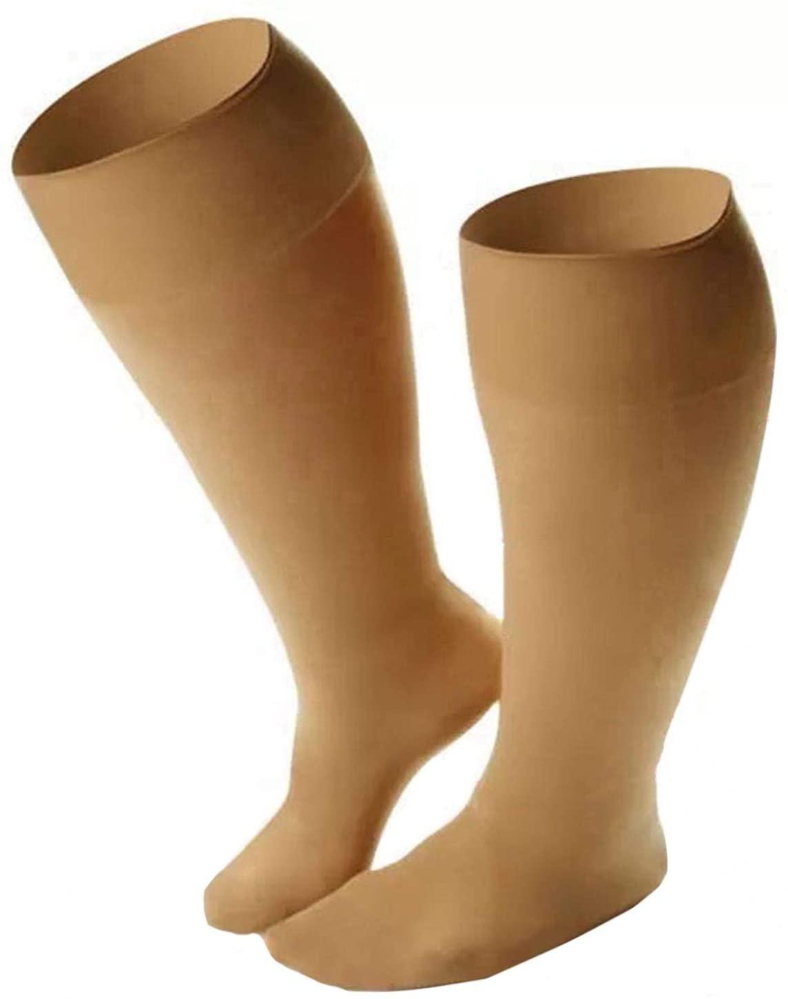 Runee Ultra Wide Knee High Close Toe Calf Compression -Tailored To Wide Calves (Beige)