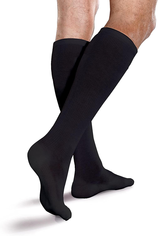 Core-Spun Cushioned 15-20mmHg Mild Graduated Compression Support Knee High Socks (Black, Large)
