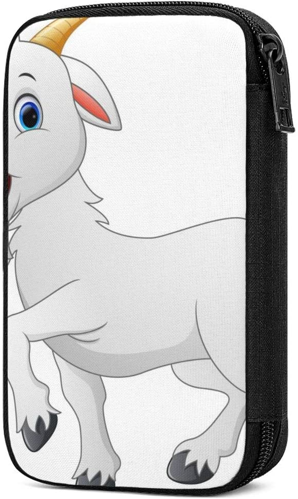 Charger Data Line Earphone DIY Wire Saver Protector Organizer Lightweight Travel Pouch Accessory Organizer with Quick-Access Pocket Stores, Organizes Cables, Chargers Cartoon Goat