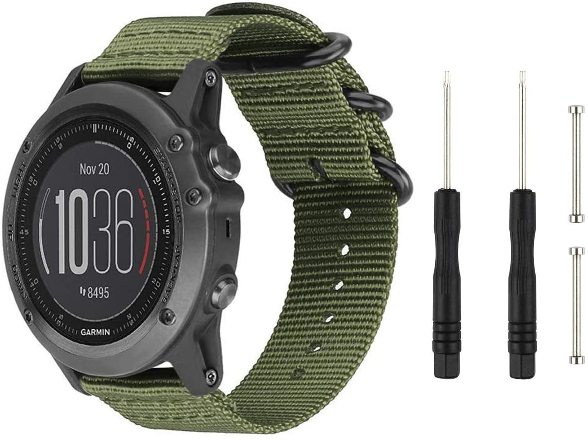 Digit.Tail Sport Military Nylon Replacement Bands Universal 26mm Watch Strap Band Accessory with Pins and Removal Tools for Garmin Fenix 3 / Fenix 3 HR, Fenix 5X Smart Watch (Green)