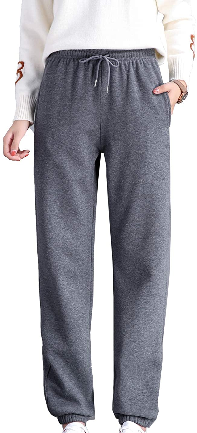 Tohopu Women's Winter Fleece Joggers Pants Sherpa Lined Sweatpants Workout Track Pant