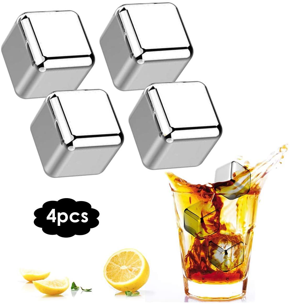 HelloCreate Stainless Steel Cooling Cubes, Whiskey Ice Cubes Reusable Drinks Chilling Stones Wine Beer Cooler