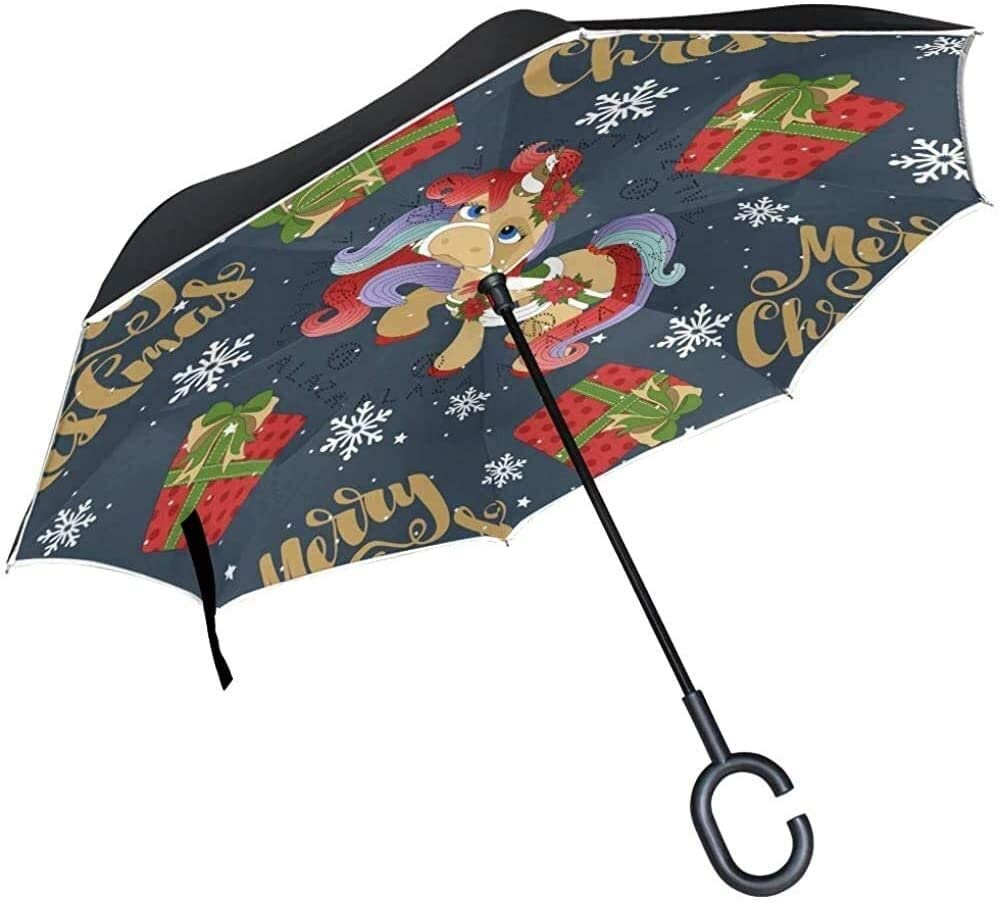 ASDF Inverted Umbrella Christmas Unicorn with Gifts Snowflake Double Layer Reverse Umbrella with C-Shaped Handle