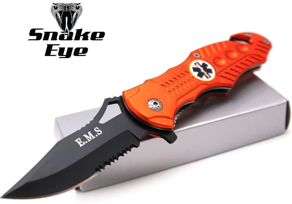 Snake Eye EMS EMT Rescue Style Spring Assist Open Folding Pocket Knife (EMS-2)