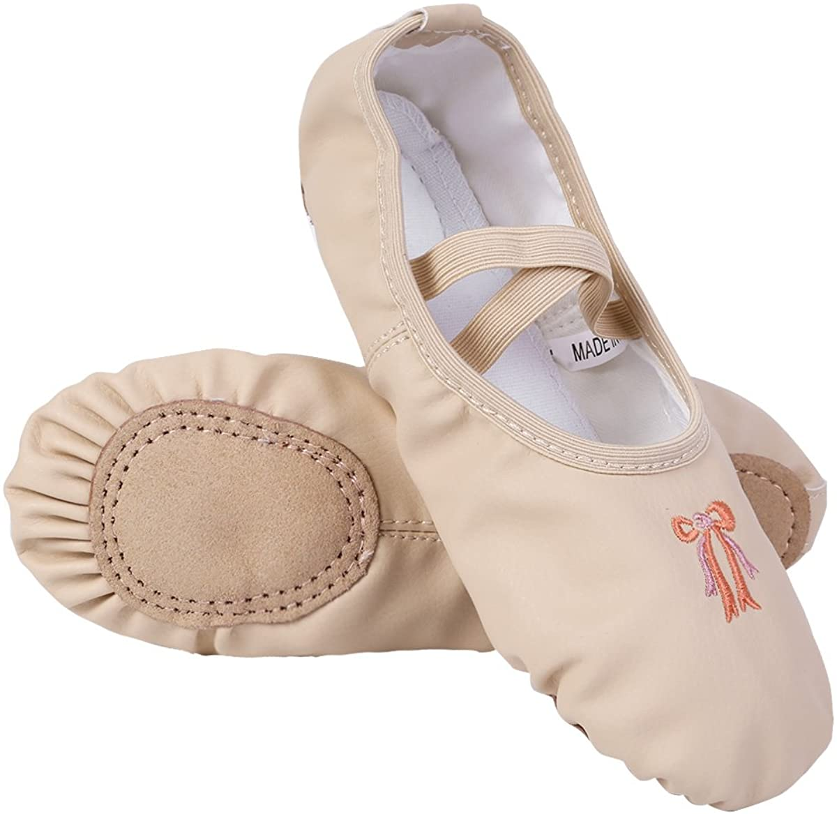ACSUSS Kids Toddler Girls Split-Sole Embroidered Bowknot Leather Ballet Shoes Slippers