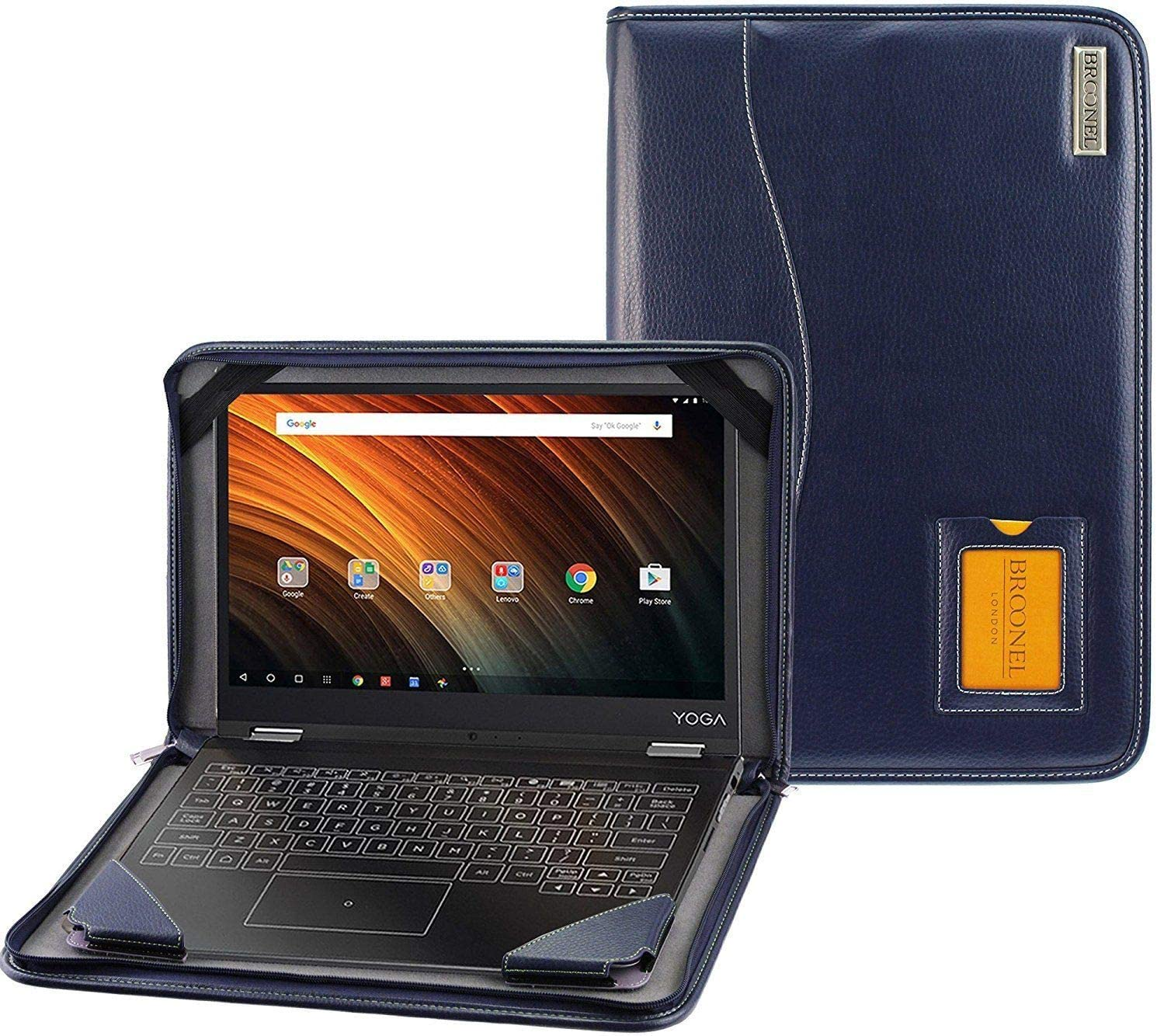 Broonel - Contour Series - Blue Heavy Duty Leather Protective Case Compatible with The Lenovo ThinkBook 14s-IML 14