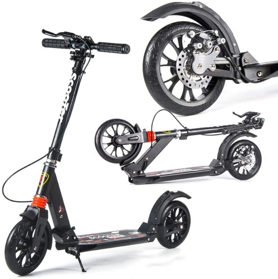 YYIN Adjustable Height Scooter Two-Wheel Folding Campus Travel Tools Aluminum Big Wheel City Work Two-Wheeled Scooter Version Disc Brakes Bold Rear Shock/One-Button Folding A Kick Scooter