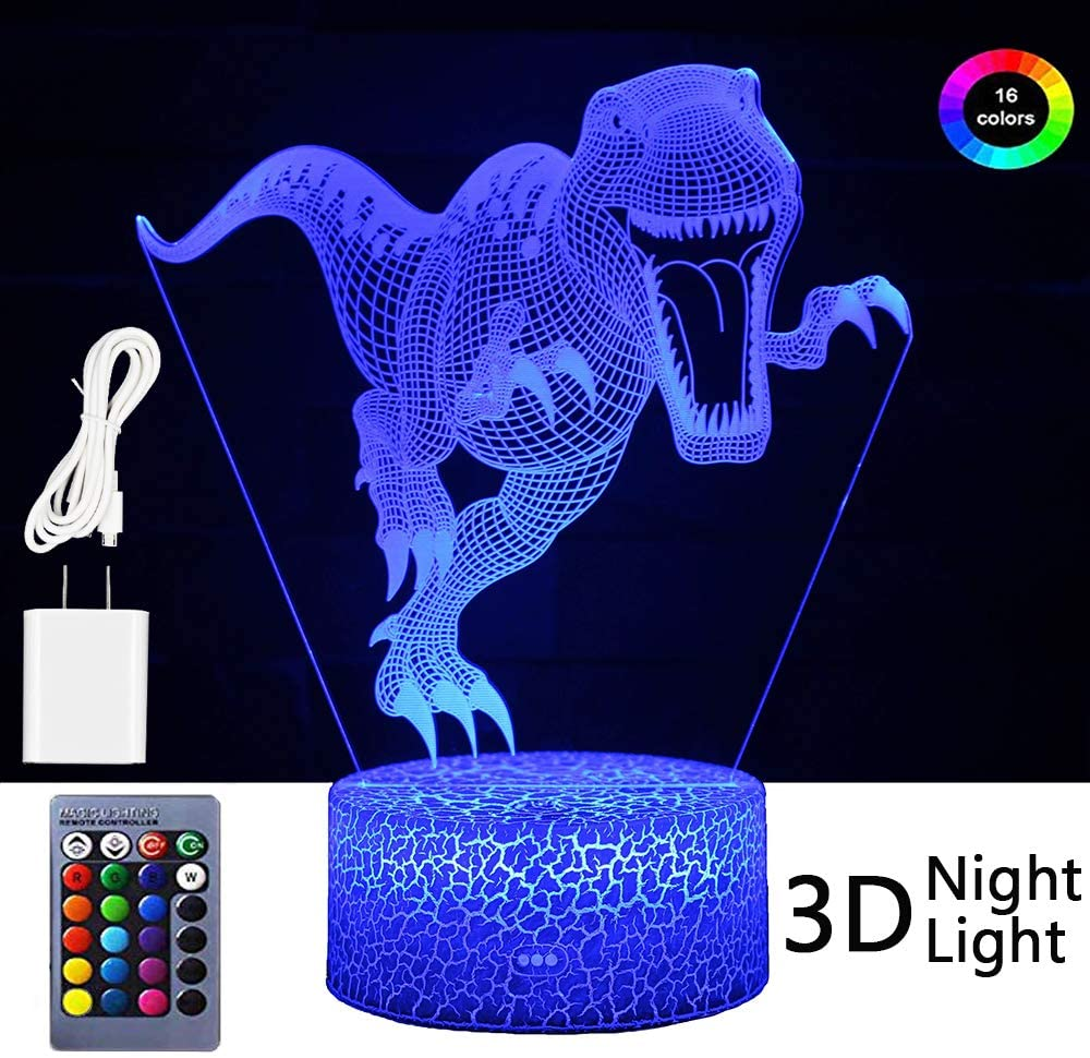 Cdycam Dinosaur Toys 3D Night Light for Kids, Remote & Smart Touch 7 Colors + 16 Colors Changing, Bedside Lamp with Remote Control for Boys Girls Living Room Bedroom Gifts (Dinosaur + Charger)