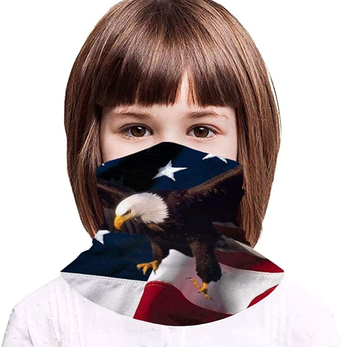 American Flag Eagle Boy Girl Seamless Face Cover Neck Gaiter Headband Teenagers Scarf Cycling Hiking Sport Outdoor - Gifts for Kids Black