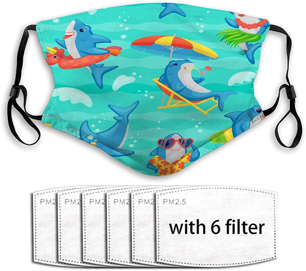 Face Shield for Dust Mouth Shield Cartoon Shark Seamless Pattern Funny Cute Blue Adjustable Covers