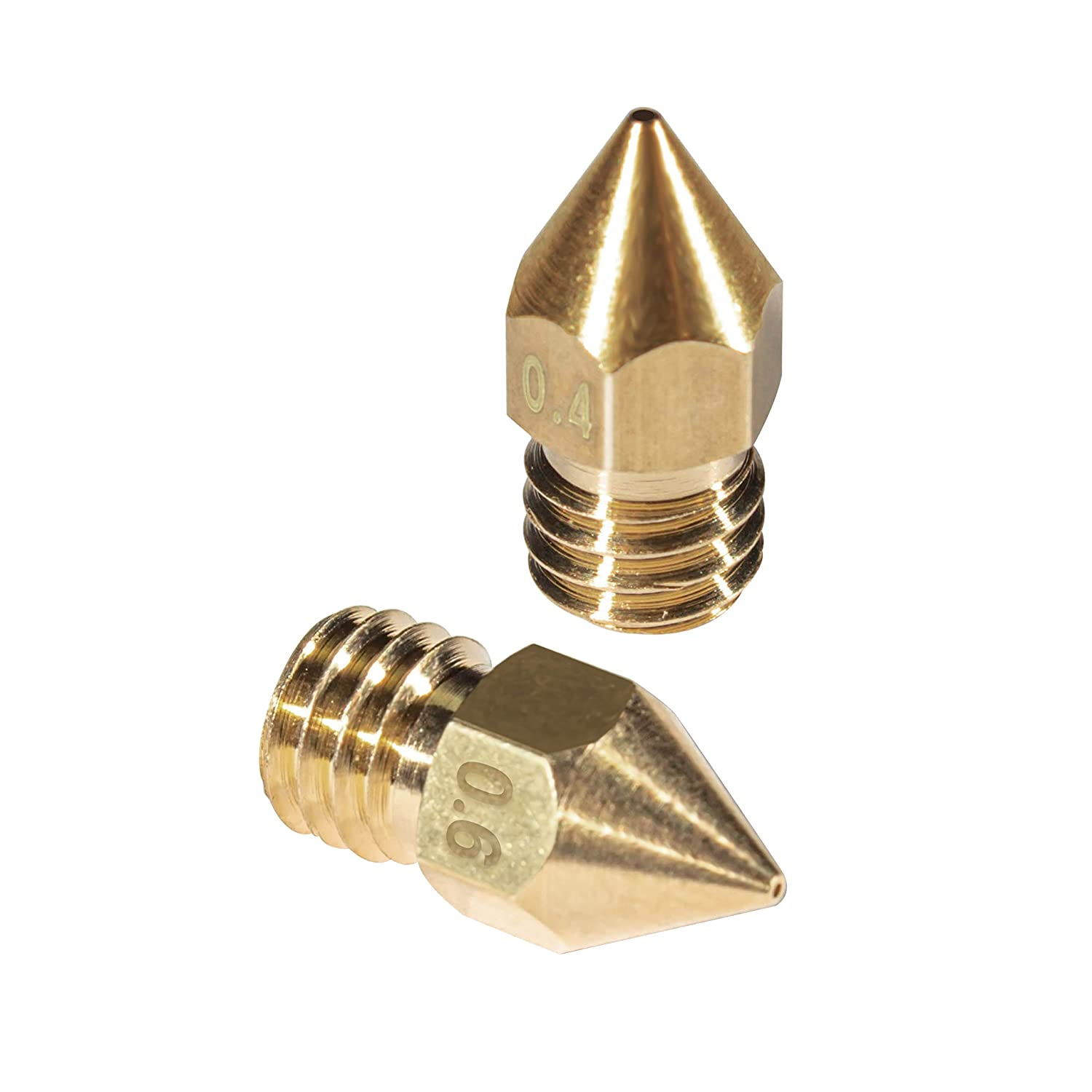 3D Printer Nozzle 12 Pieces Brass Extruder Nozzle Print Head 0.4mm 0.6mm Compatible with MK8 Makerbot Creality CR-10 M6 Thread 3D Printer