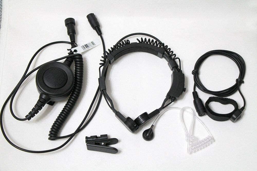 WishRing Military Throat Mic Headset Earpiece Waterproof Big PTT for Kenwood Radio 2 PIN