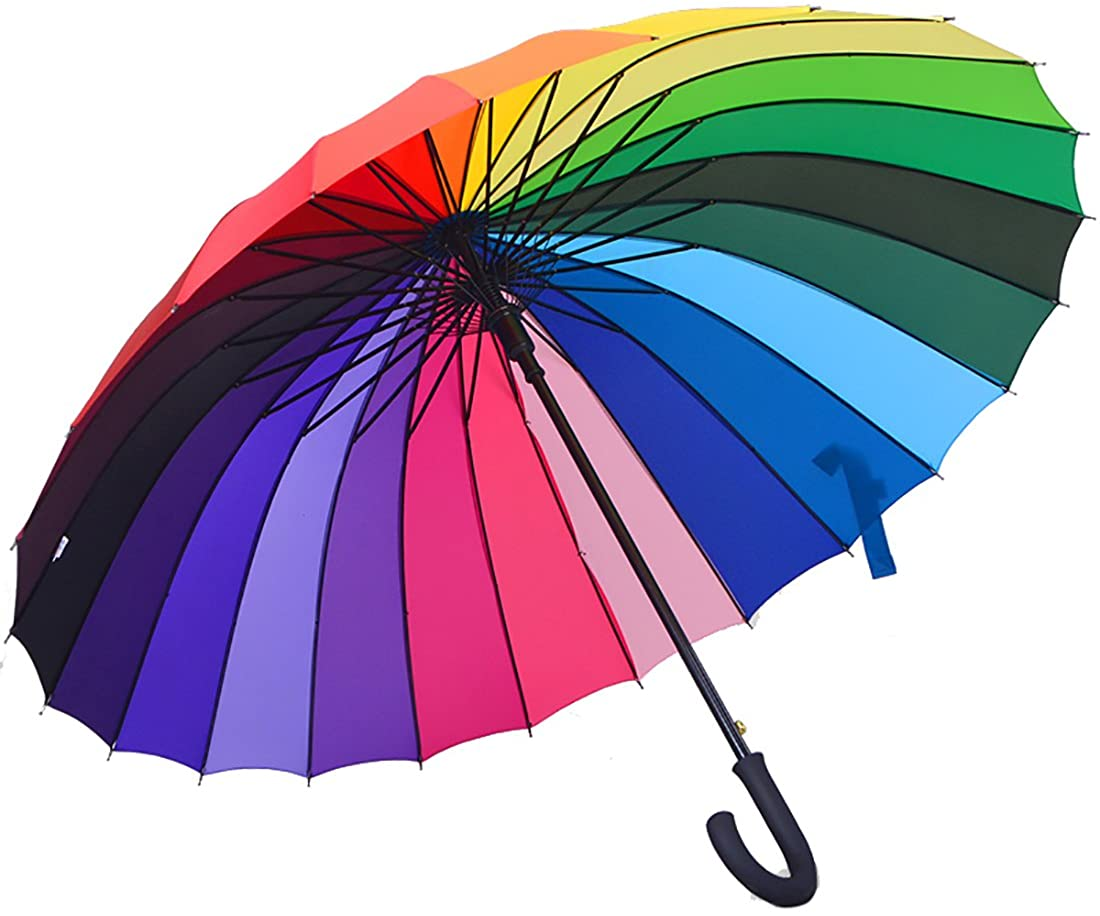 LISSOMPLUME 24 Ribs Rainbow Compact Travel Umbrella Unisex Windproof Rain Canopy