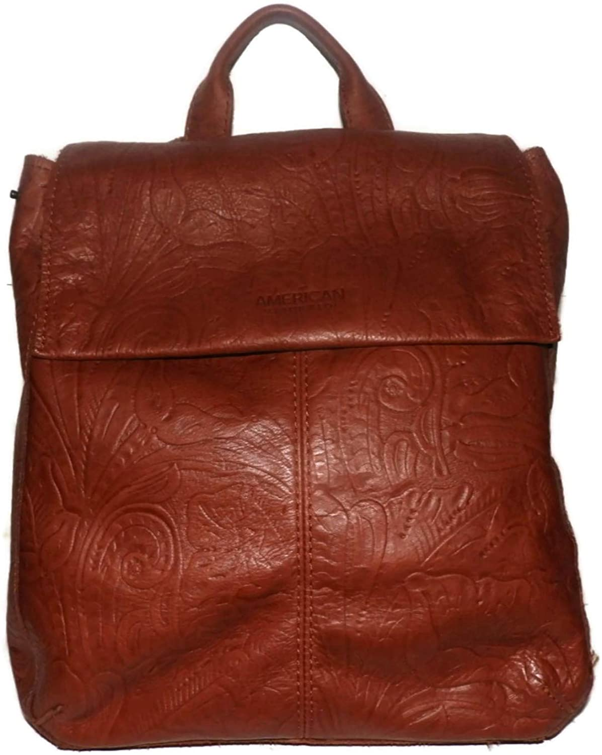 AMERICAN LEATHER CO Brown Liberty Brandy Tooled Backpack