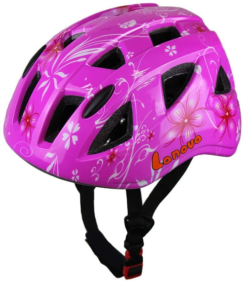 Bicycle Riding Helmet, Riding Helmet Children's One-Piece Bicycle Mountain Bike Helmet Skating Helmet 49-54CM-Rosered