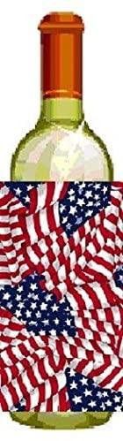 U.S. Flag Pattern Bottle Wrap Chiller Fits 20oz to 2 Liter Bottles of Wine, Soda, Iced Tea, Beer, Milk, Juice, Etc.