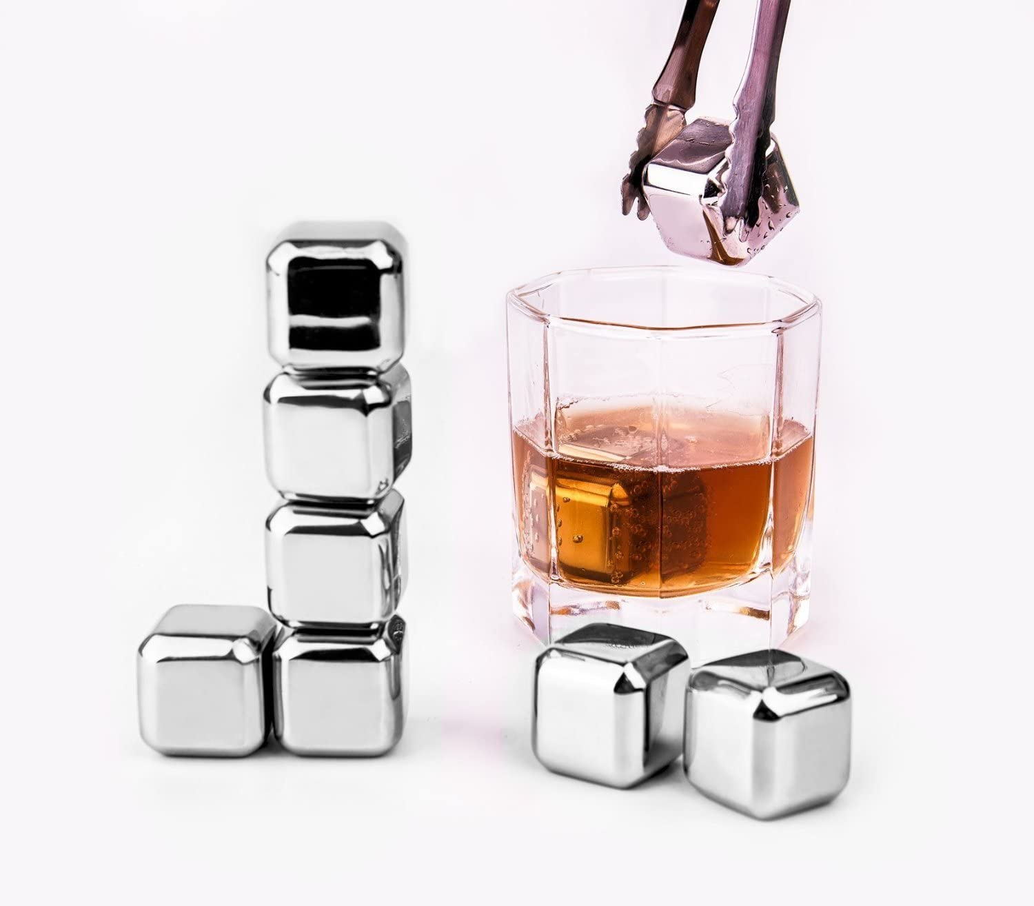 Whiskey Stones - Wecookez Set of 8 with Plastic Storage Box Tongs, Stainless Steel Reusable Wine Ice Cubes, Whiskey Chilling Rocks and Whisky Stones