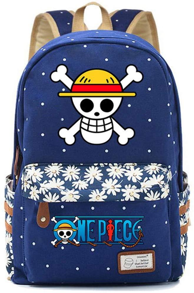 Skull One Piece Monkey D Luffy Flower Dot Backpack Men Women 1 (3)