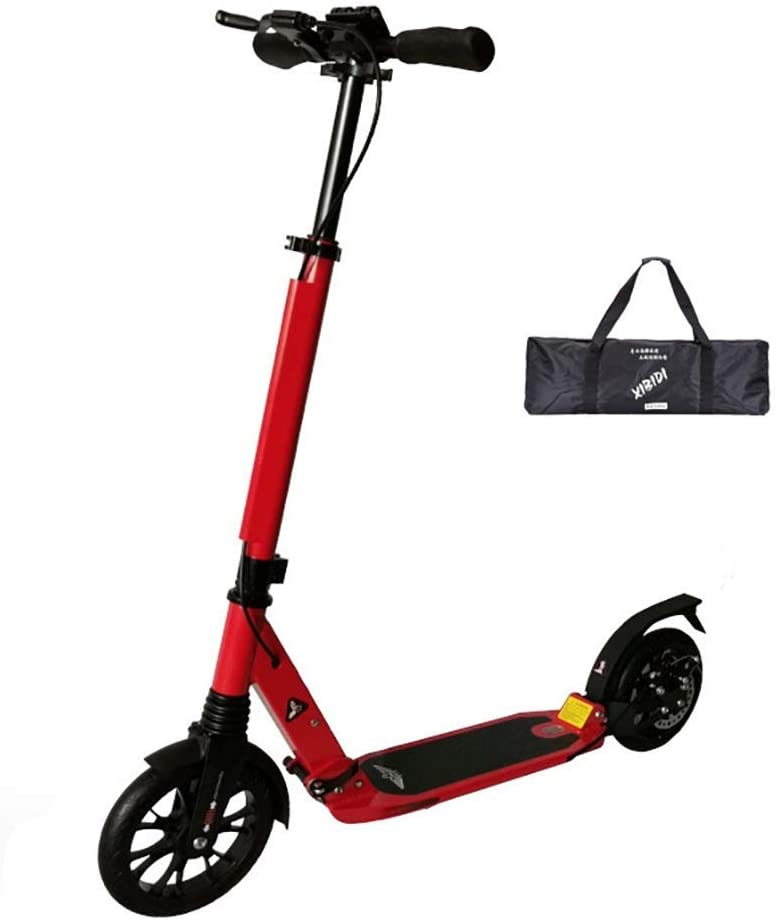 PLLP Outdoor Sports Scooter Kick,Adjustable Folding Adult with Handlebar, Non-Electric Kick with Disc Hand Brake, 200Mm Big Pu Wheels, 220Lbs Weight Capacity Adult Child Toy Balance Car Mini,Red
