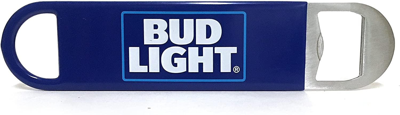 Bud Light Logo Bartender Metal Bottle Opener with Vinyl Wrap, Flat to Easily Slide into Pocket