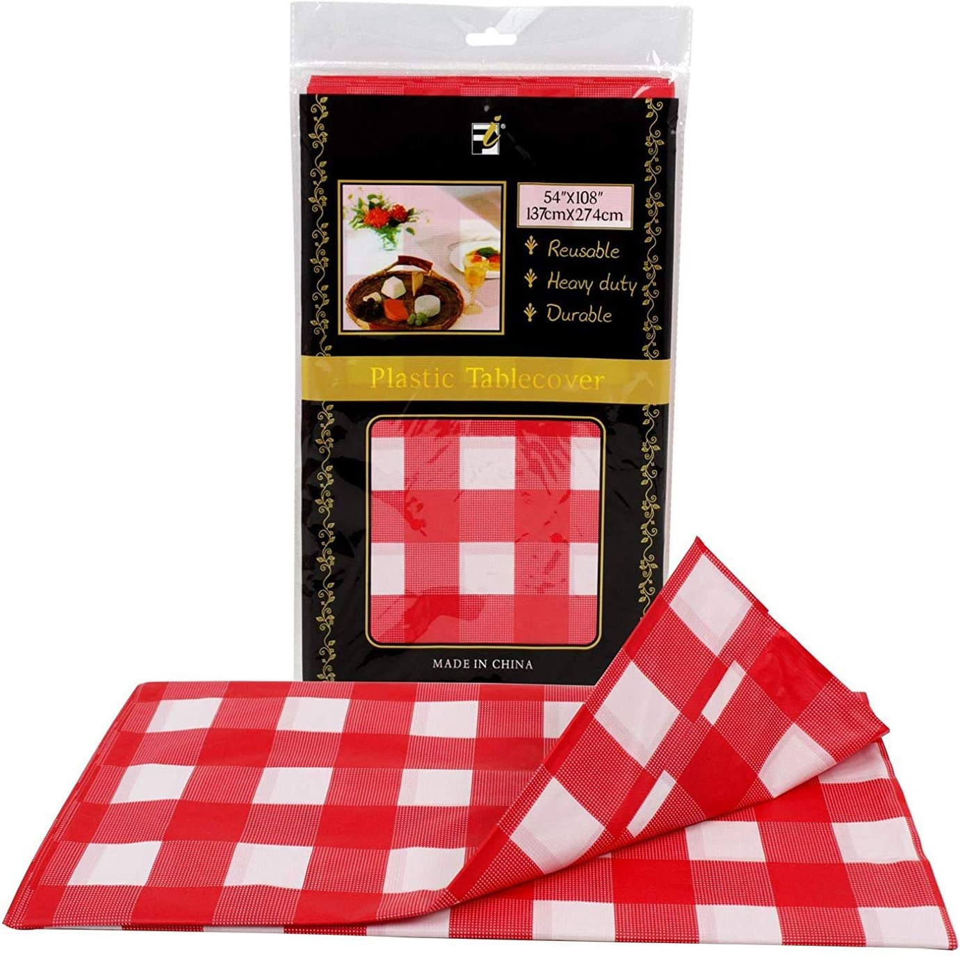 Gingham Checkered Tablecloth - Waterproof Table Cover | 12 Pack Premium Buffalo Check Cloth | 54 x 108 Inch - Washable - DIY Party Decoration for Indoor Outdoor (Red/White)