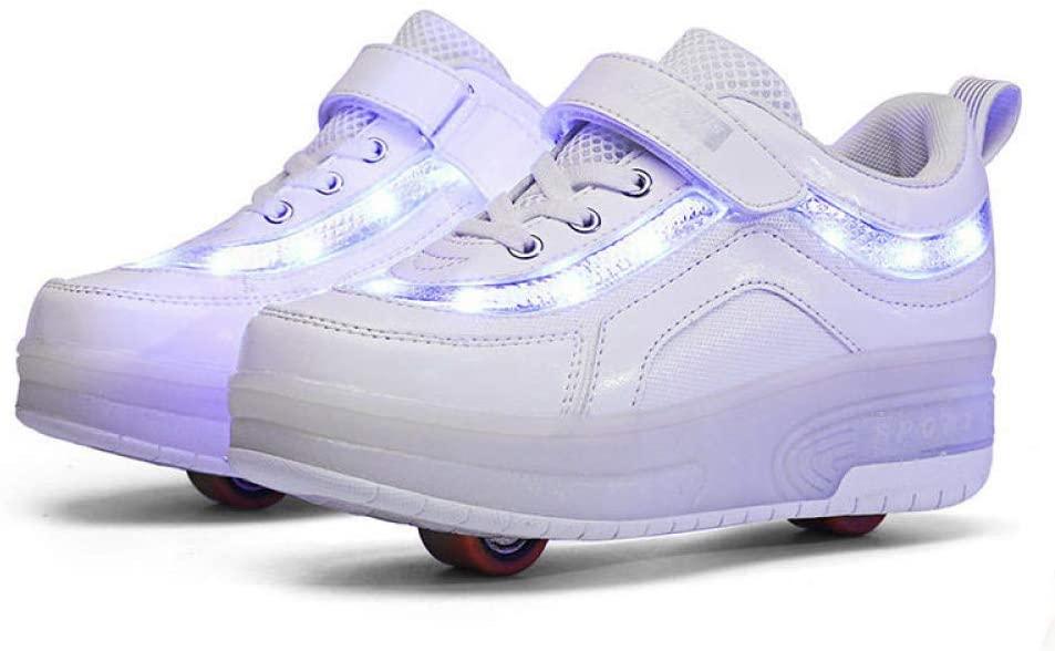 XIAZHOU Skating Ladies' Shoes, Children's Shoes Skating, Inline Skates, Roller Shoes Deformation Adult Children, Blackredsinglewheel-33 (Color : White1, Size : 30)