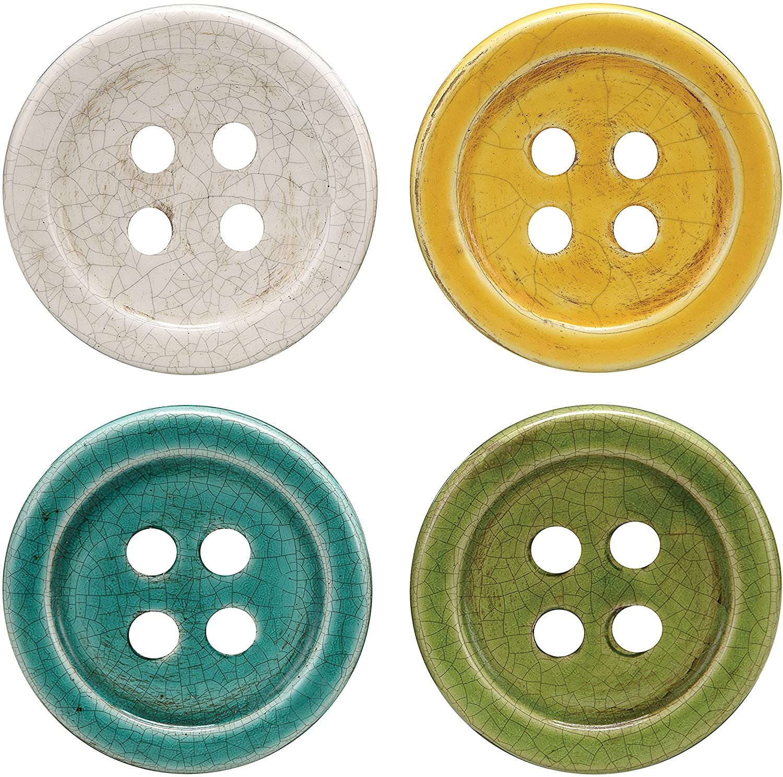 Creative Co-Op Multicolor Terracotta Button Coasters (Set of 4 Pieces)