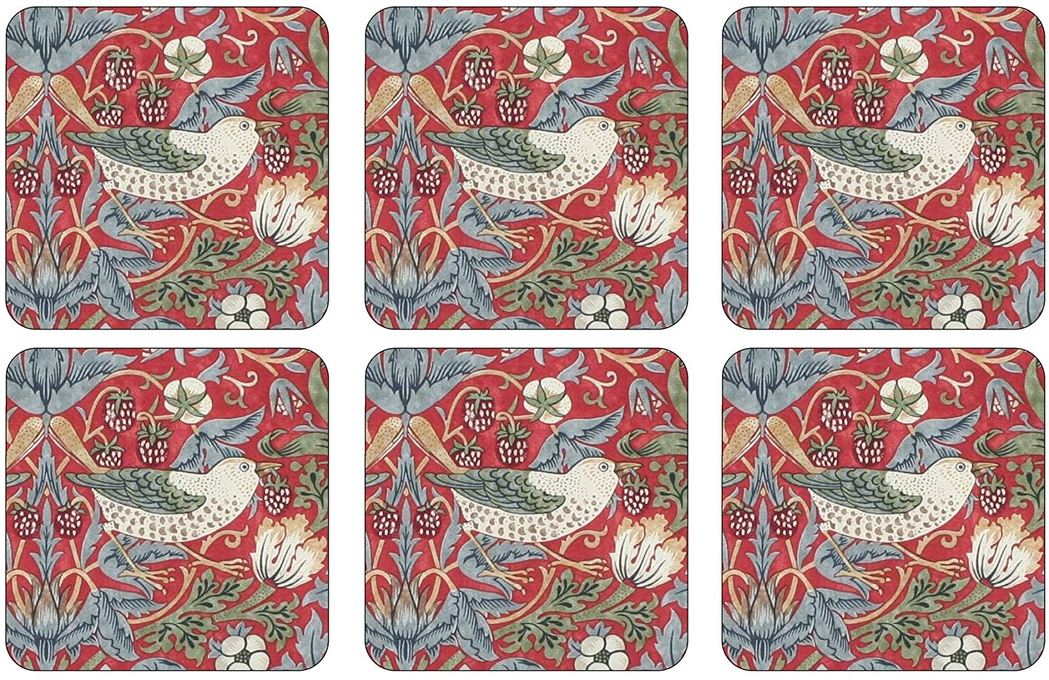 Morris & Co for Pimpernel Strawberry Thief Collection Red Coasters - Set of 6