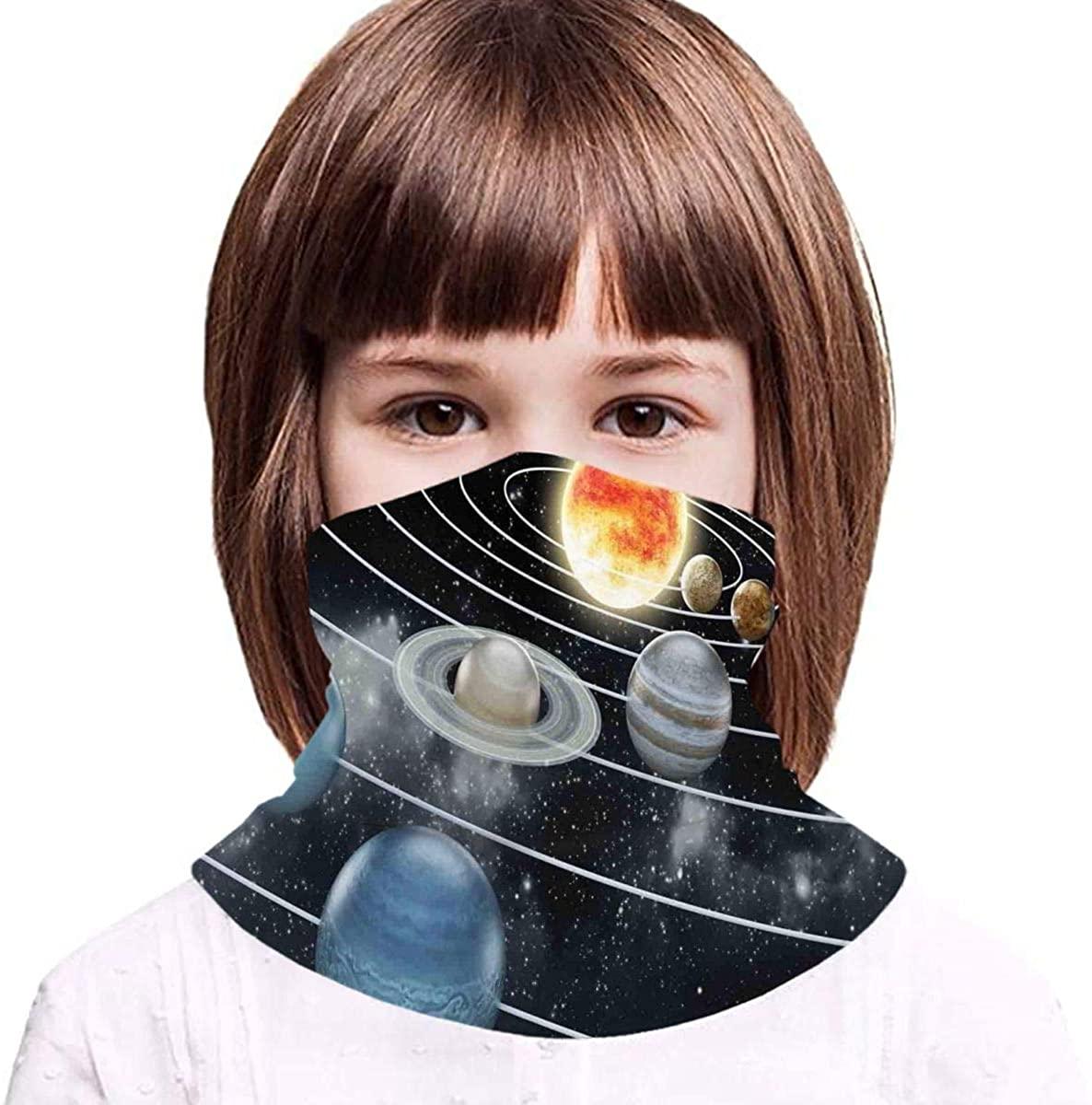 Solar System All 8 Planets Neck Gaiter Face Mask Bandana Dust Wind Sun UV Balaclava for Teen Boy Girl Outdoors