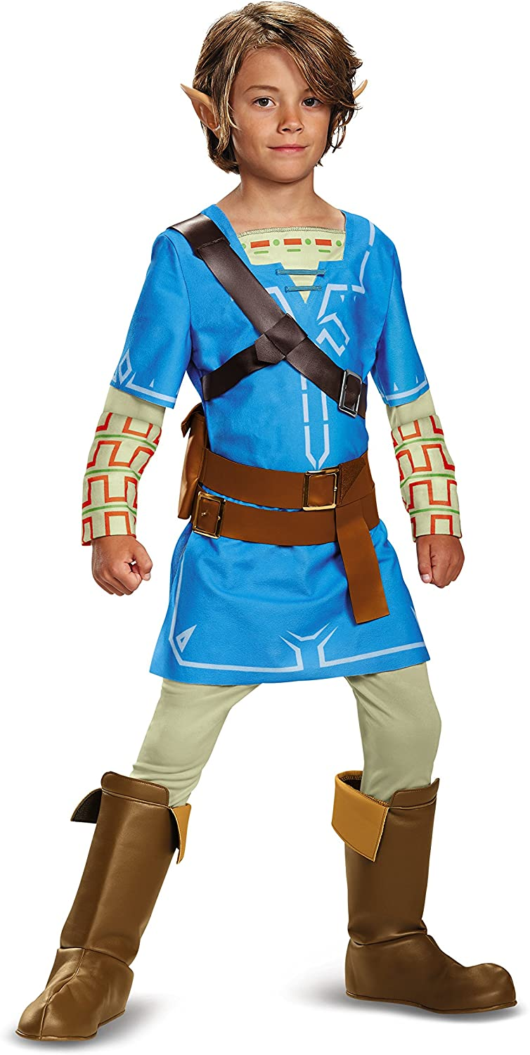 Link Breath Of The Wild Deluxe Costume, Blue, Large (10-12)