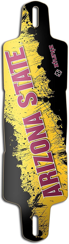 ztuntz skateboards Arizona State University Glider ASU Grunge Drop Through Longboard Deck, Maroon/Gold/Black